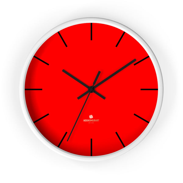 "Solid Bright Red Color Plain Modern 10"" Diameter Large Wall Clock- Made in USA-Wall Clock-10 in-White-Black-Heidi Kimura Art LLC"