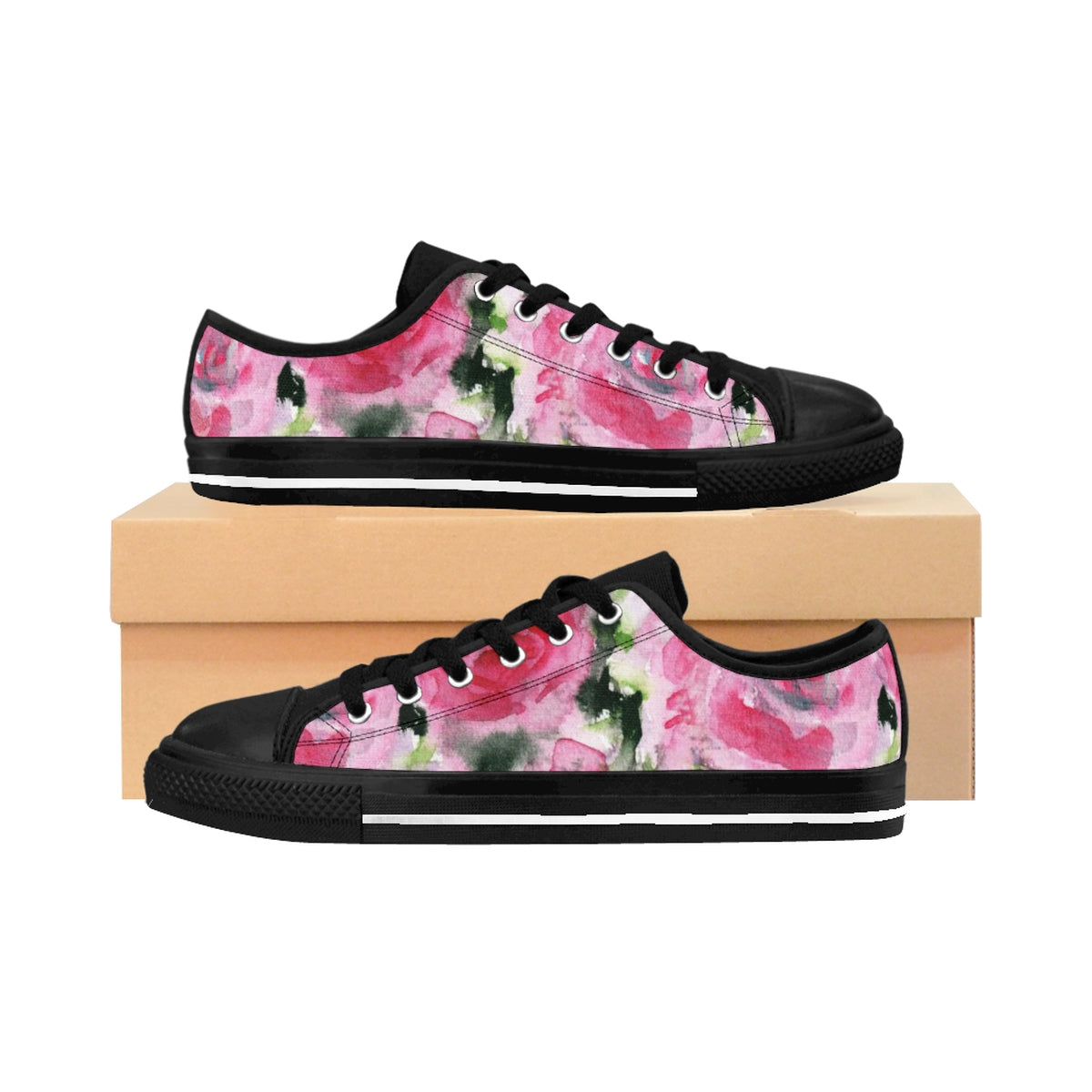 Pink Garden Fairy Rose Floral Designer Low Top Women's Sneakers Shoes (US Size 6-12)-Women's Low Top Sneakers-US 10-Heidi Kimura Art LLC