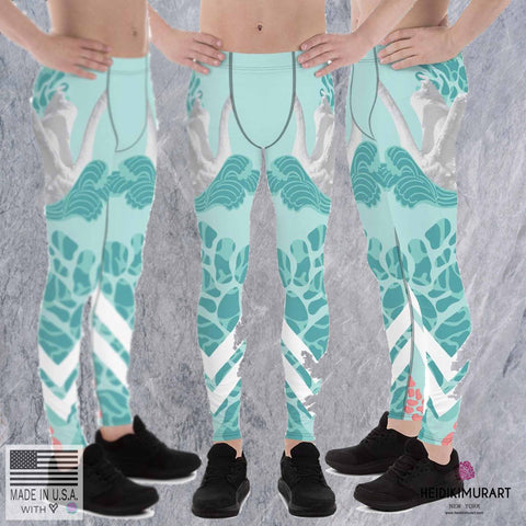 Swan Light Blue Designer Men's Leggings Tights Pants - Made in USA/EU (US Size: XS-3XL)-Men's Leggings-Heidi Kimura Art LLC