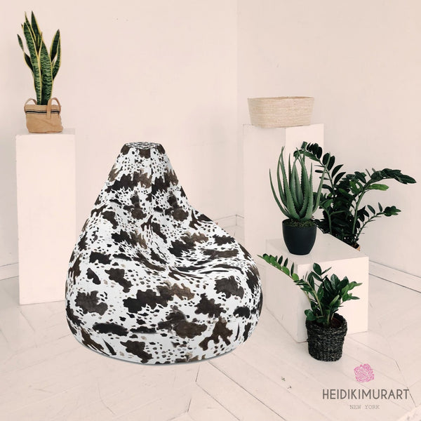 Cow Animal Print Water Resistant Polyester Bean Sofa Bag 3.4' Tall - Made in Europe-Bean Bag-Heidi Kimura Art LLC