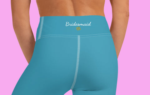 Teal Blue Solid Color Bridesmaid Premium Yoga Capri Leggings-Made in USA-Capri Yoga Pants-Heidi Kimura Art LLC