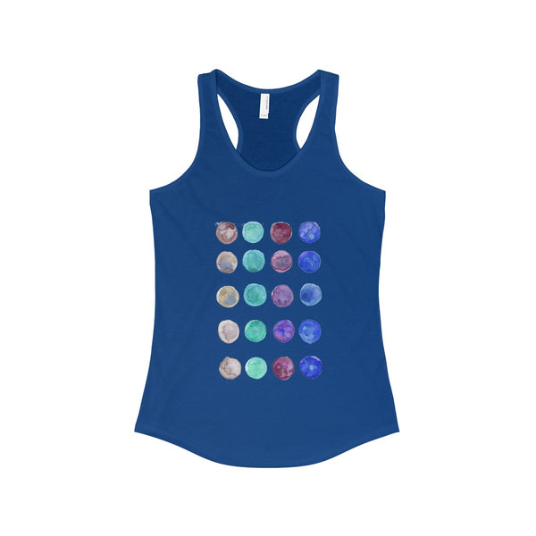 Polka Dots Colorful Designer Women's Ideal Racerback Tank -Made in the U.S.A.-Tank Top-Solid Royal-XS-Heidi Kimura Art LLC