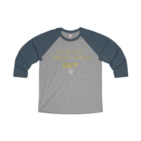 Motivational Unisex Tee, Tri-Blend 3/4 Raglan T-Shirt With Inspirational Quote -Made in USA-Long-sleeve-S-Vintage Navy / Premium Heather-Heidi Kimura Art LLC