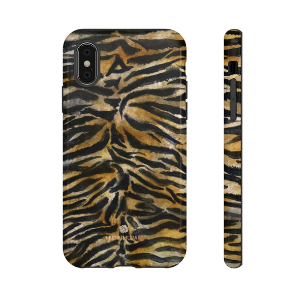 Brown Tiger Striped Tough Cases, Animal Print Best Designer Phone Case-Made in USA-Phone Case-Printify-iPhone XS-Glossy-Heidi Kimura Art LLC