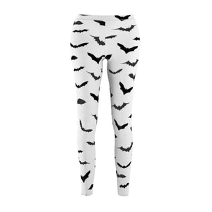 Bats Women's Casual Leggings, White Halloween Costume Cosplay Tights-Made in USA-Casual Leggings-White Seams-M-Heidi Kimura Art LLC