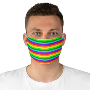 "Rainbow Horizontal Striped Face Mask, Colorful Best Horizontally Stripes Fashion Face Mask For Men/ Women, Designer Premium Quality Modern Polyester Fashion 7.25"" x 4.63"" Fabric Non-Medical Reusable Washable Chic One-Size Face Mask With 2 Layers For Adults With Elastic Loops-Made in USA"