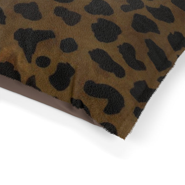 "Brown Leopard Animal Print Deluxe 28""x18"", 40""x30"", 50""x40"" (Large, Medium, Small Size) Pet Bed-Pet Beds-Heidi Kimura Art LLC"