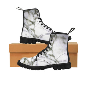White Marble Print Designer Women's Canvas Lace-up Winter Boots Shoes (US Size: 6.5-11)-Women's Boots-Black-US 9-Heidi Kimura Art LLC White Marble Women's Boots, White Marble Print Designer Women's Canvas Lace-up Winter Hiking Boots Shoes (US Size: 6.5-11)