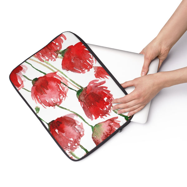 "Miki Red Poppy Flower Floral Print 12', 13"", 14"" Laptop Sleeve - Designed + Made in the USA"