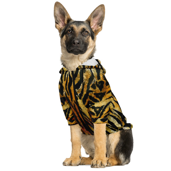 Tiger Stripe Print Dog Hoodie, Soft Comfortable Zip-Up Premium Hoodie For Dog Pet Owners Tiger Stripe Print Dog Hoodie, Animal Print Soft Comfortable Zip-Up Premium Fashion Hoodie For Dog Pet Owners, For Tiny Small Dogs to Medium/ Large Size Dogs (Size: XXS-2XL)