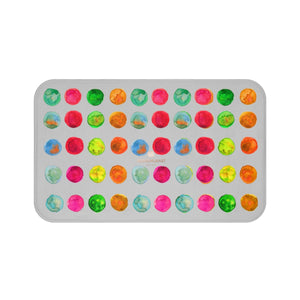 Light Ash Gray Colorful Watercolor Polka Dots Print Microfiber Bath Mat-Made in USA-Bath Mat-Large 34x21-Heidi Kimura Art LLC