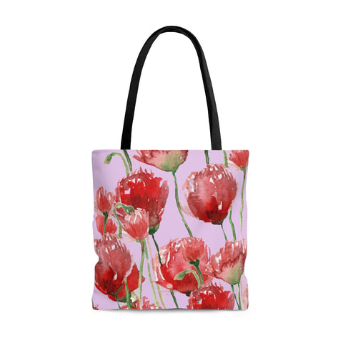 Light Pink Pacific Northwest Red Tulip Flower Floral Print Designer Tote Bag - Made in USA-Tote Bag-Large-Heidi Kimura Art LLC