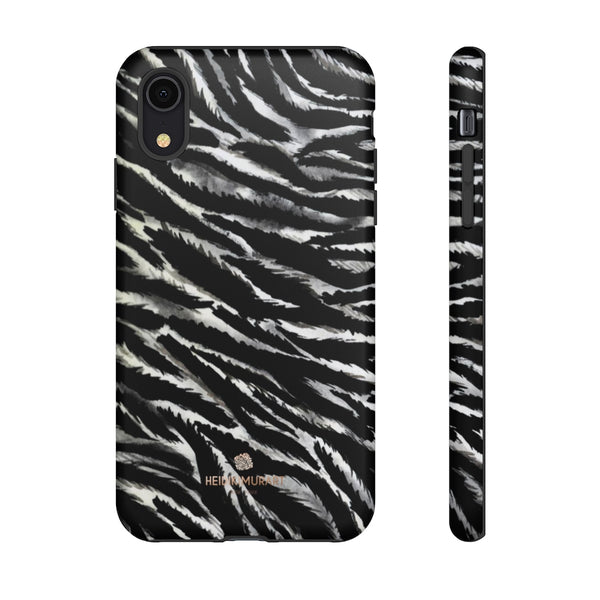 White Tiger Stripe Phone Case, Animal Print Tough Designer Phone Case -Made in USA-Phone Case-Printify-iPhone XR-Matte-Heidi Kimura Art LLC
