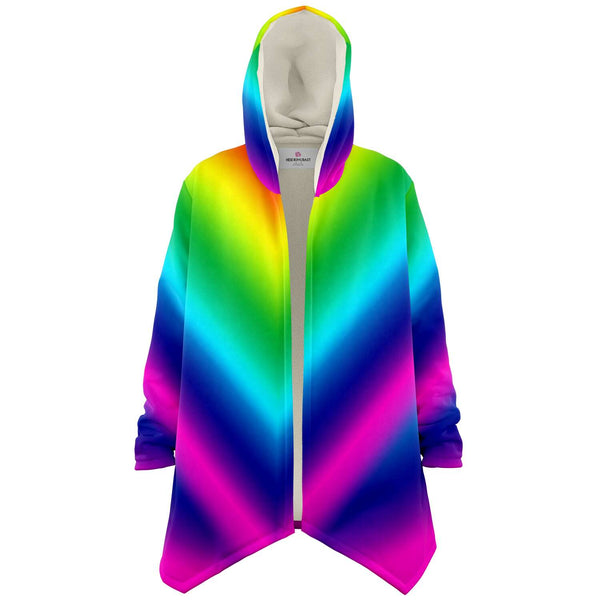 Rainbow Ombre Microfiber Fleece Jacket-Microfleece Cloak - AOP-Subliminator-XS-Heidi Kimura Art LLC