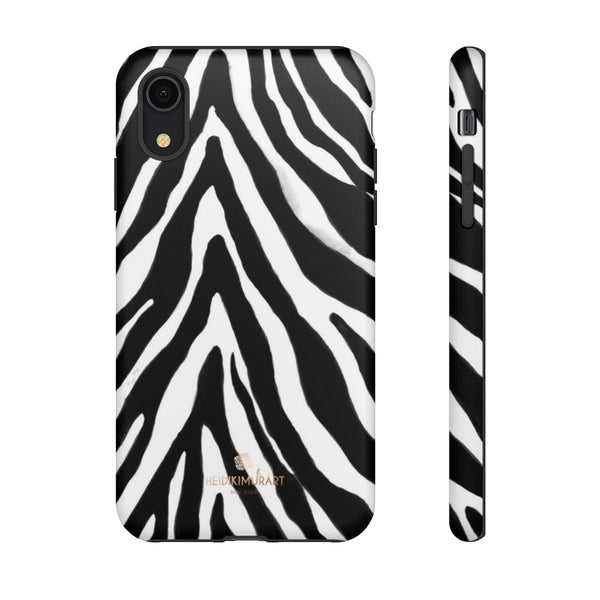 Zebra Stripe Phone Case, Animal Print Tough Designer Phone Case -Made in USA-Phone Case-Printify-iPhone XR-Matte-Heidi Kimura Art LLC