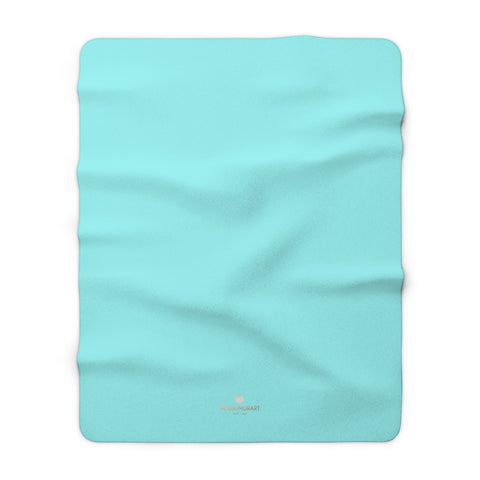 "Light Blue Solid Color Print Designer Cozy Sherpa Fleece Blanket-Made in USA-Blanket-60"" x 80""-Heidi Kimura Art LLC"