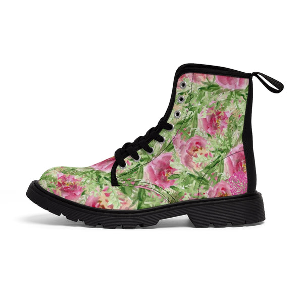 Pink French Rose Floral Print Designer Women's Winter Lace-up Toe Cap Boots-Women's Boots-Black-US 9-Heidi Kimura Art LLC
