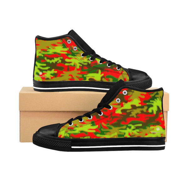 Red Green Camouflage Army Military Print Men's High-top Sneakers Tennis Shoes-Men's High Top Sneakers-Heidi Kimura Art LLC