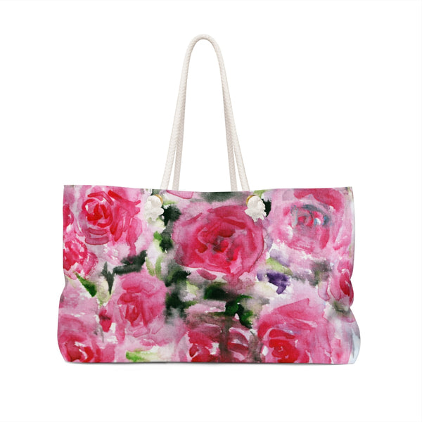 "Rosy Red Pink Floral Print 24""x13"" Weekender Bag - Made in USA-Weekender Bag-24x13-Heidi Kimura Art LLC"