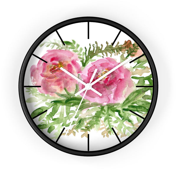 Pink Rose Vintage Style Floral Print Rose Flower 10 inch Diameter Wall Clock-Made in USA-Wall Clock-Black-White-Heidi Kimura Art LLC