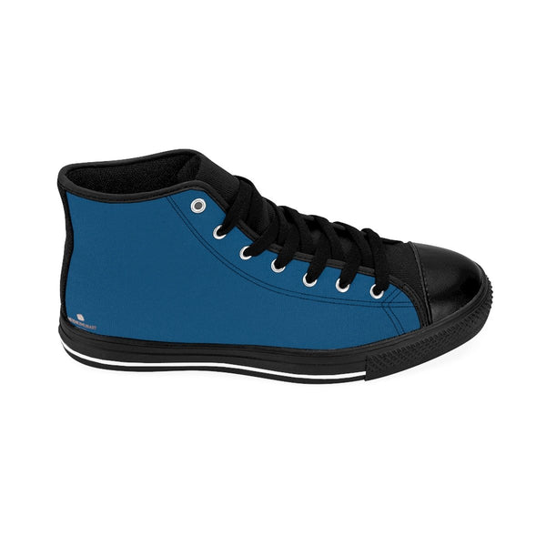 Teal Blue Solid Color Premium Quality Men's High-Top Sneakers Fashion Tennis Shoes-Men's High Top Sneakers-Heidi Kimura Art LLC