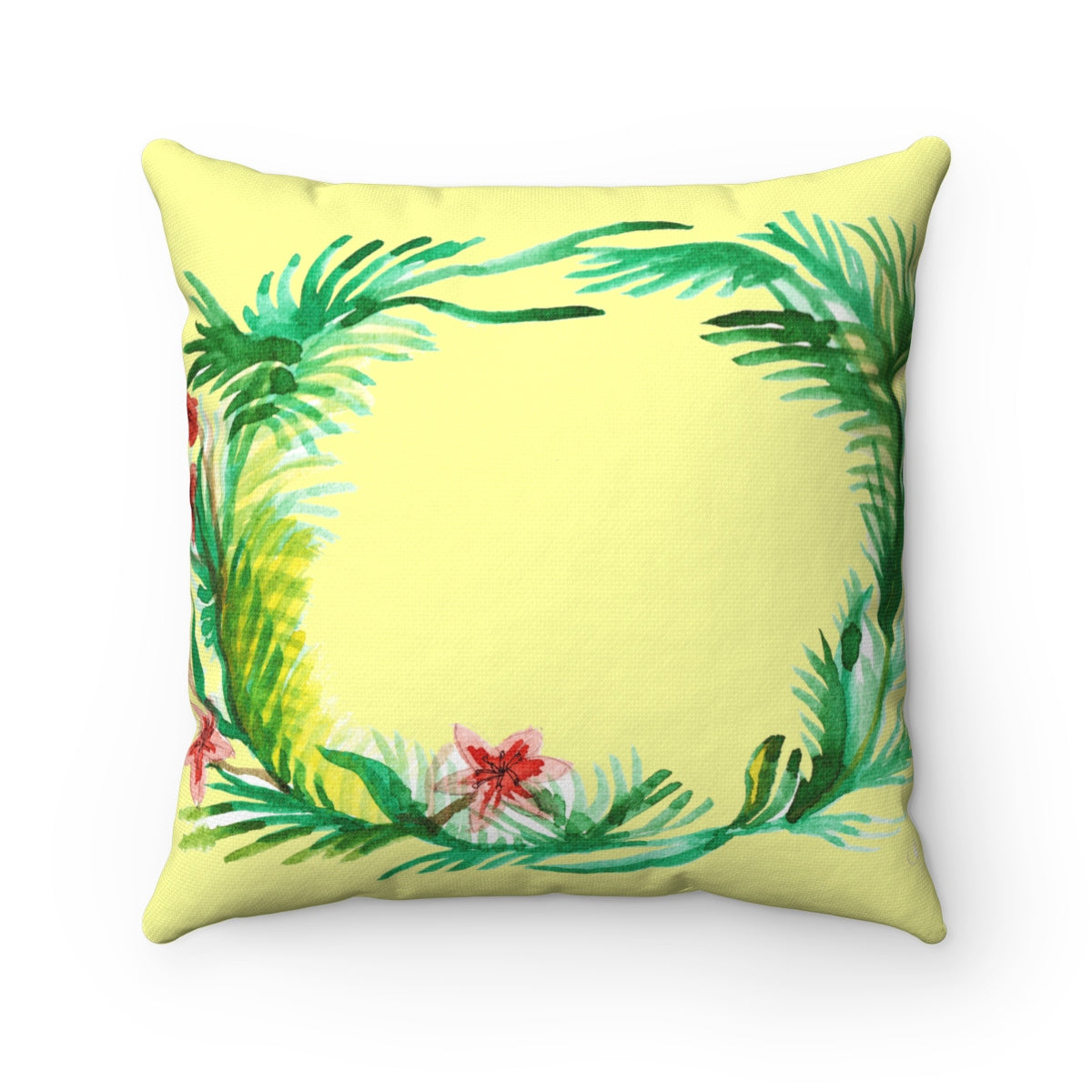 Cute Red and Yellow Floral Wreath Spun Polyester Square Pillow - Made in USA-Pillow-14x14-Heidi Kimura Art LLC