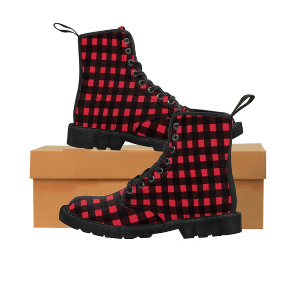 Red Buffalo Men's Boots, Best Plaid Print Hiking Winter Laced Up Shoes For Men-Shoes-Printify-Heidi Kimura Art LLC Red Buffalo Men's Boots, Best Plaid Flannel Print Best Luxury Premium Quality Unique Plaid Print Designer Men's Lace-Up Winter Hiker Boots Men's Shoes (US Size: 7-10.5)