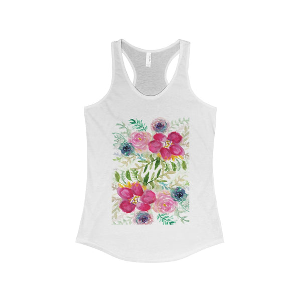 Pink Rose Bouquet Floral Print Women's Ideal Racerback Tank - Made in USA-Tank Top-Solid White-XS-Heidi Kimura Art LLC Pink Rose Women's Racerback Tank, Pink Rose Bouquet Floral Print Women's Ideal Racerback Tank - Made in USA (US Size: XS-2XL)