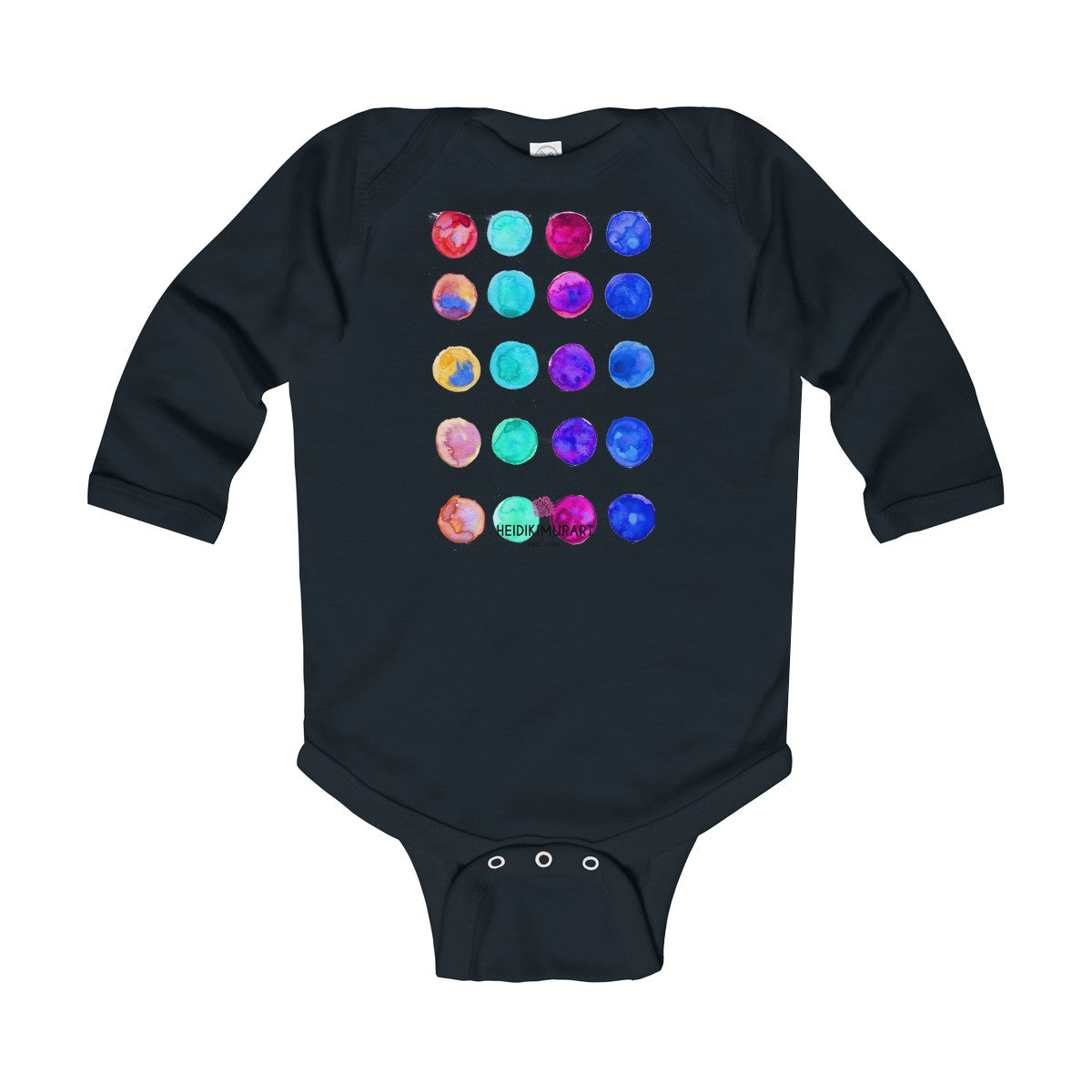 Polka Dots Printed Cute Super Soft Cotton Infant Long Sleeve Bodysuit - Made in UK-Kids clothes-Black-18M-Heidi Kimura Art LLC