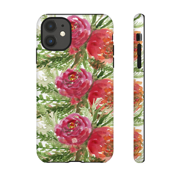 Red Orange Floral Phone Case, Flower Print Tough Designer Phone Case -Made in USA-Phone Case-Printify-iPhone 11-Matte-Heidi Kimura Art LLC