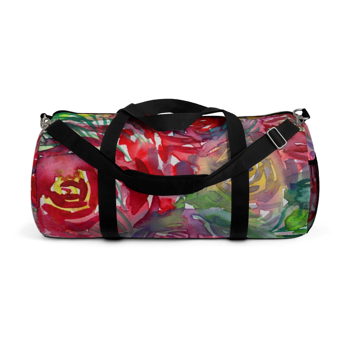 Floral Red Rose Print All Day Small Or Large Size Duffel Bag, Made in USA-Duffel Bag-Small-Heidi Kimura Art LLC