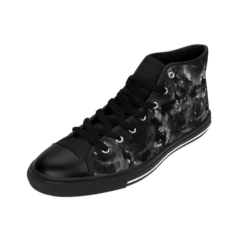 Black Zombie Rose Floral Print Designer Women's High Top Sneakers Shoes (US Size: 6-12)-Women's High Top Sneakers-Heidi Kimura Art LLC Black Abstract Women's Sneakers, Black Zombie Rose Floral Print Designer Women's High Top Sneakers Shoes (US Size: 6-12)