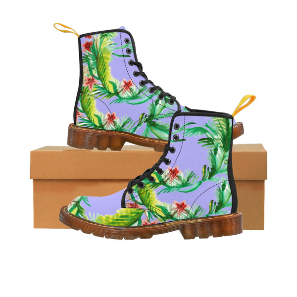 Designer Vintage-Style Violet Floral Print Women's Nylon Canvas Winter Boots-Women's Boots-Brown-US 10-Heidi Kimura Art LLC