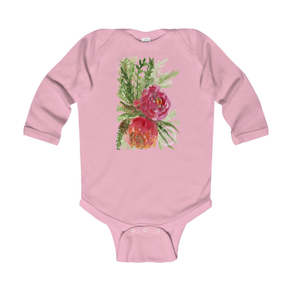 Harumi Floral Red Orange Rose Infant Long Sleeve Bodysuit - Made in United Kingdom