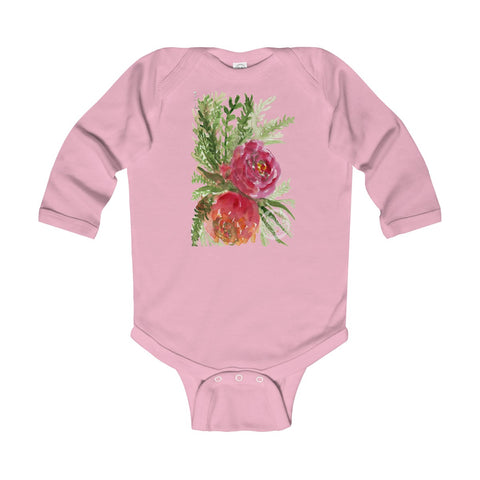 Floral Red Orange Rose Infant Long Sleeve Bodysuit - Made in UK (UK Size: 6M-24M)-Kids clothes-Pink-18M-Heidi Kimura Art LLC