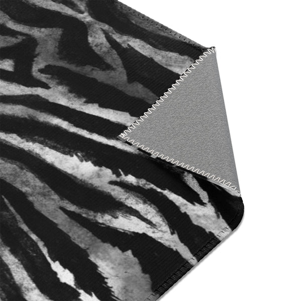 White Black Tiger Stripe Animal Print 24x36, 36x60, 48x72 inches Area Rugs- Printed in USA-Area Rug-Heidi Kimura Art LLC