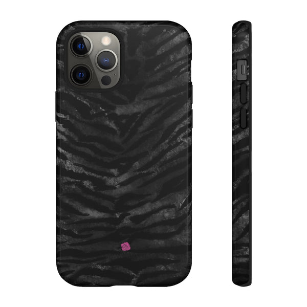 Grey Tiger Striped Phone Case, Animal Print Tiger Stripes Animal Print Designer Case Mate Best Tough Phone Case For iPhones and Samsung Galaxy Devices-Made in USA