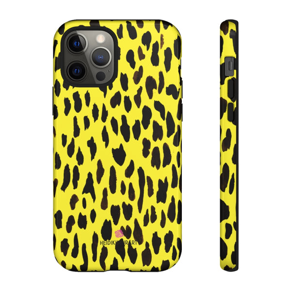 Yellow Leopard Designer Tough Cases, Animal Print Designer Case Mate Best Tough Phone Case For iPhones and Samsung Galaxy Devices-Made in USA