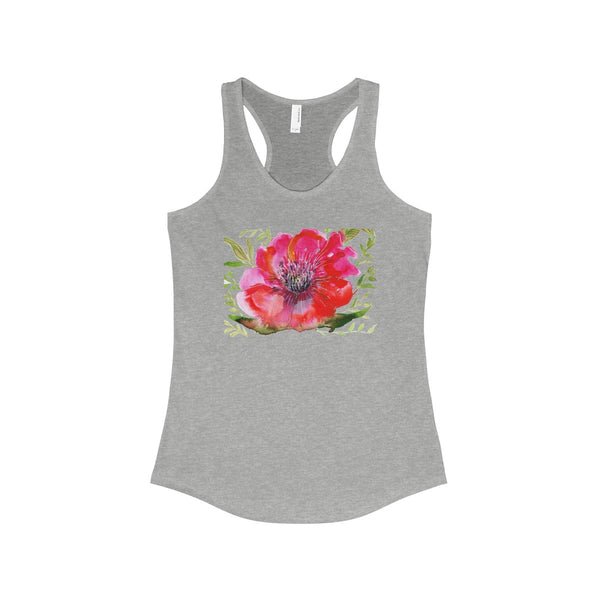 Red Designer Best Floral Women's Ideal Racerback Tank - Made in the USA-Tank Top-90/10 Heather Gray-XS-Heidi Kimura Art LLC