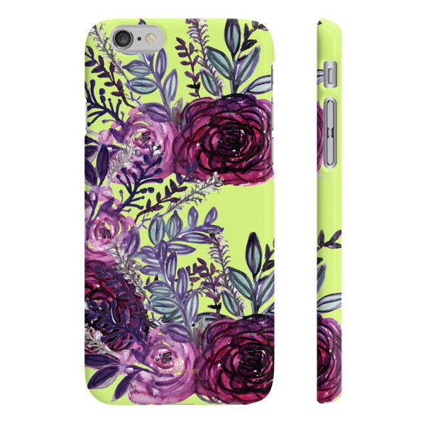 Yellow Slim iPhone/ Samsung Galaxy Floral Purple Rose iPhone or Samsung Case, Made in UK-Phone Case-iPhone 6/6S Slim-Matte-Heidi Kimura Art LLC