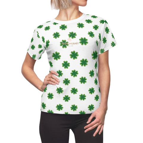 White Green Clover Print St. Patrick's Day Women's Short Sleeves Crewneck Tee- Made in USA-Women's T-Shirt-L-White Seams-4 oz.-Heidi Kimura Art LLC