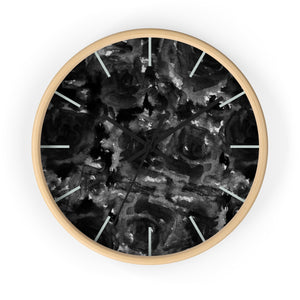 "10"" Black Gray Rose Floral Print Rose 10 inch Diameter Flower Wall Clock, Made in USA, Unique Large Wood Wall Clock, Rose Clock Home Decor"