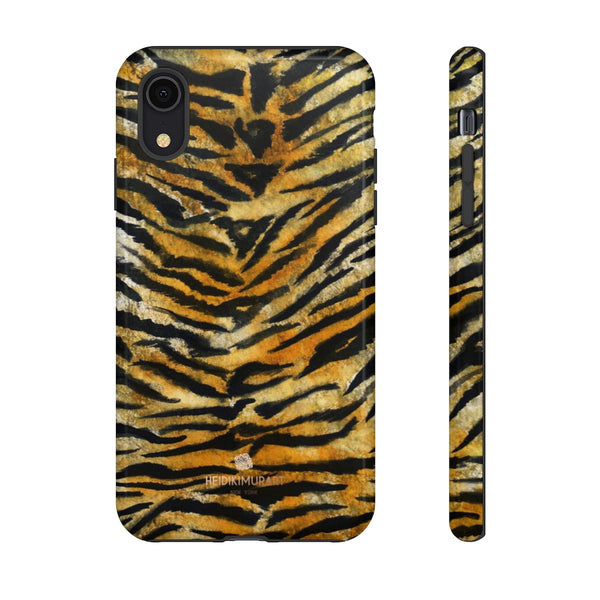 Tiger Stripe Print Phone Case, Animal Print Tough Designer Phone Case -Made in USA-Phone Case-Printify-iPhone XR-Glossy-Heidi Kimura Art LLC