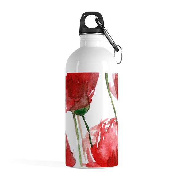 Red Poppy Flower Floral Print Full Size Light Stainless Steel 14 oz. Water Bottle - Made in USA  Sparkling Clean Light Stainless Steel Water Bottle - Heidi Kimura Art LLC