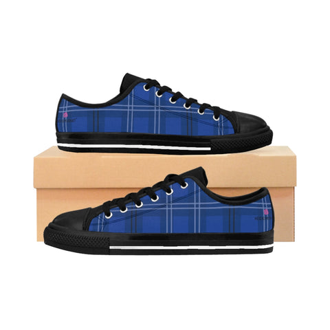 Blue Plaid Men's Sneakers