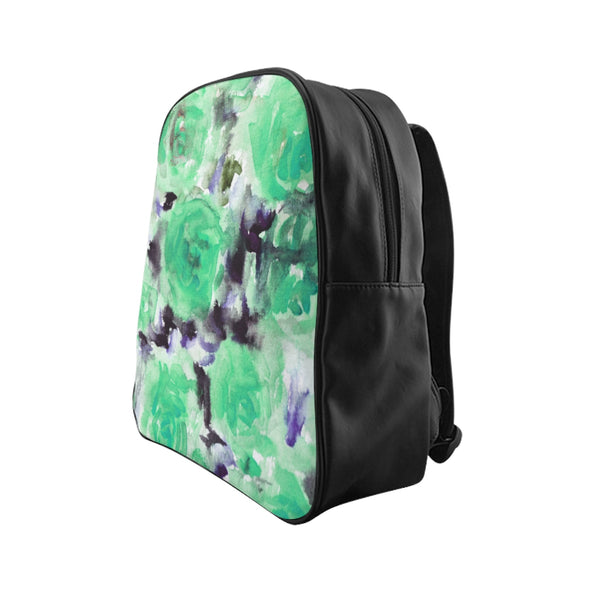 Dreamy Blue Rose Floral Print School Designer Backpack School Bag (Size: S, M, L)-Backpack-Heidi Kimura Art LLC