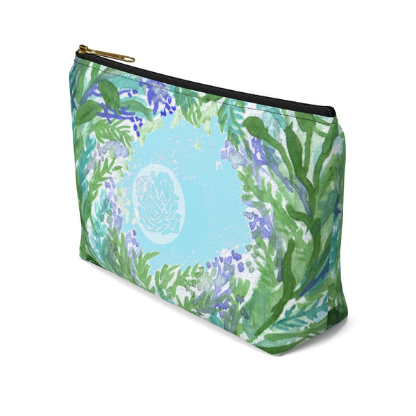 Blue Floral Print Accessory Pouch with T-bottom, French Lavender Floral Designer Makeup Bag-Accessory Pouch-Heidi Kimura Art LLC