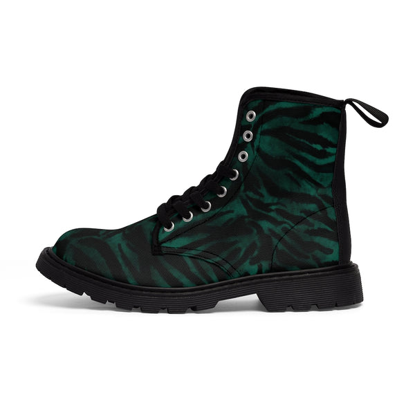 Green Tiger Stripe Men's Boots, Animal Print Best Designer Fashionable Combat Work Hunting Boots, Anti Heat + Moisture Designer Men's Winter Boots Hiking Shoes (US Size: 7-10.5)