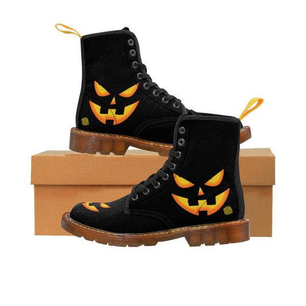 Black Orange Pumpkin Face Halloween Party Designer Women's Canvas Winter Boots-Women's Boots-Brown-US 8.5-Heidi Kimura Art LLC