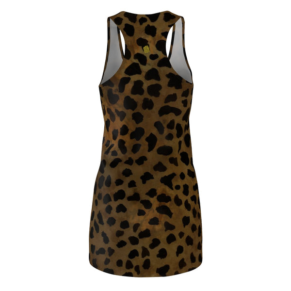 Brown Leopard Animal Print Women's Regular Fit Racerback Tank Dress - Made in USA-Women's Sleeveless Dress-Heidi Kimura Art LLC